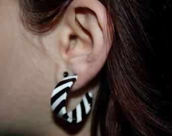 Vintage 1970's Lucite Striped Hoop Earrings