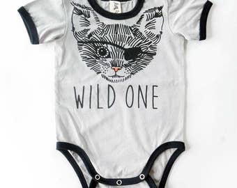Wild One Pirate Cat Baby Short Sleeve Baby Grow - Unisex Alternative Anchor Tattoo Rockabilly Bodysuit 0-3, 3-6, 6-12 month
