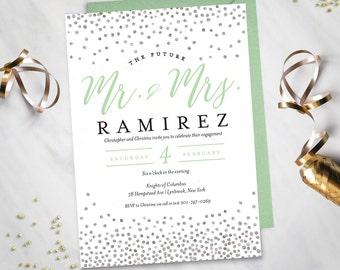 Mint Engagement Party Invitation (Digital file)