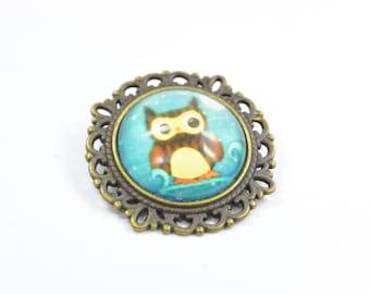 Brooch Owl Metall