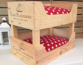 Cat bunk beds - *second*  French wine crates 'Clos Floridene'-farmhouse-rustic-cat lover-wine lover- wooden pet bed - hygge - kittens - pets