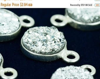 30% OFF Natural Silver Druzy, Bezel Round Shape Connector, 8mm Round Silver Plated, Single  Bail 1pc (SZ-11203)