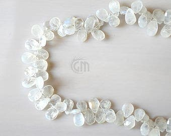 "Single Strand Rainbow Moonstone Briolette Beads, 7x5mm Faceted Gemstone Teardrop Beads 8"" Inch Long (DRRM-70008)"