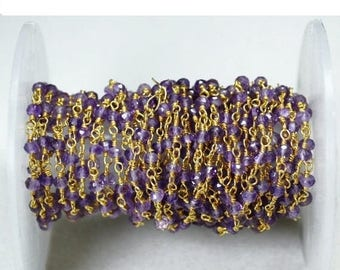 40% OFF One foot Amethyst beads rosary chain, 3-3.5mm Gold plated wire wrapped link Stone rosary Chain (GPAM-30002)
