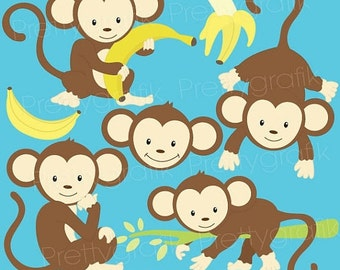 80% OFF SALE monkey clipart commercial use, vector graphics, digital clip art, digital images, instant download - CL524