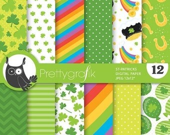 80% OFF SALE St-patrick's paper digital papers, commercial use, scrapbook papers, background - PS698