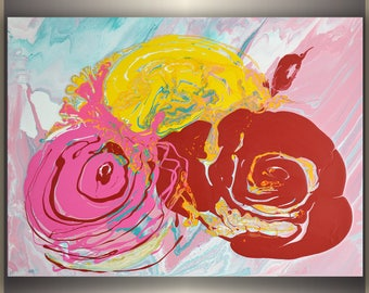 "abstract roses art decor wall hanging ORIGINAL Acrylic Painting ""Abstract Roses""  size: 24""x18"""