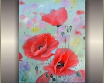 "ORIGINAL Oil Painting  Poppies by Tamara   24""x18"""