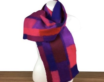 Felted Patchwork scarf in shades of pink and purple, 100% merino wool
