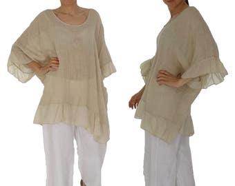 HN400BG ladies blouse linen tunic Gr. 42 44 46 48 50 52 beige