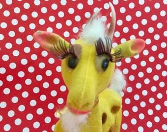 Vintage Flocked Billy Goat Kitschy Anthropomorphic Animal Goat Statue Mid Century Kitsch Novelty Gift