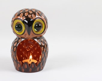 Owl Candle Holder Clay or Ceramic