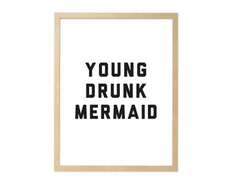 Fine art print · Young drunk Mermaid · DIN A4