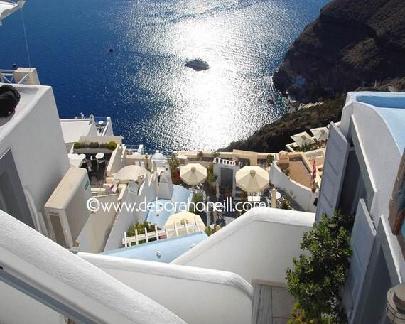 "Greece Photography Greek Island Santorini view ocean sea distant seaside panoramic wall art ""Down to the Sea, Santorini, Greece"""