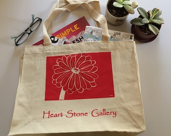 Hand Printed Tote Bag - Zinnia flower