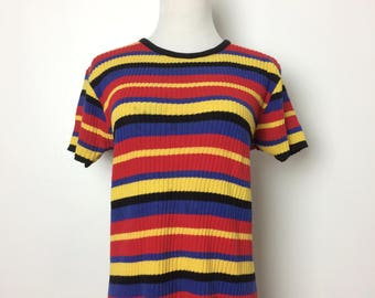 Vintage 80s Top/ 80s Colorful Striped Ribbed Knit Short Sleeve/ Small Medium