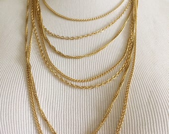 Vintage Gold Multi Layered Chain Necklace/ Costume Jewelry