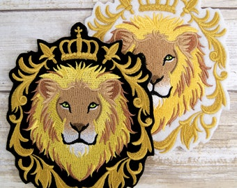 Lion - Regal Crest and Crown - Iron On Embroidery Patch MTCoffinz - Choose Size/Color
