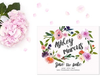 Save the Date DEPOSIT - Printable, Custom, DIY, Modern, Watercolor, Deckled, Boho, Floral, Flowers, Calligraphy, Rustic, Chic (Design #73)