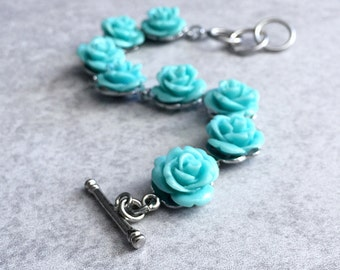 """Teal Green Rose Bracelet - Large 14mm Carved Coral Flowers, Resin Cabochons, Arm Candy, Love, Roses, Mint, Aqua, 7"""" Long, Bridesmaid Jewelry"""