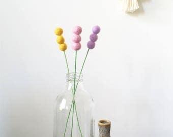 Pompom flowers, felt ball reeds, feltball flowers, cake topper, felt flowers, party decor, wedding bouquet, billy button, wedding decoration