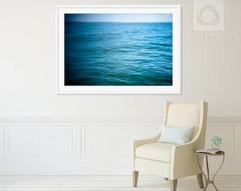 Large Ocean Photography // Endless Blue Coast // Print or Framed Print // Coastal Seascape Abstract Artwork
