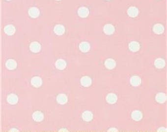 Handmade Curtain Valance 48W x 14L in Pale Pink/White Polka Dots, Clearance