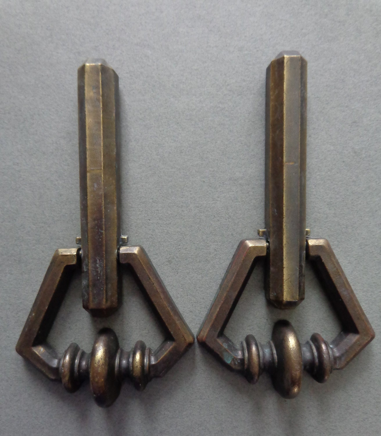 Vintage kbc heavy cabinet drop pulls and backplates keeler - Drop pulls for cabinets ...