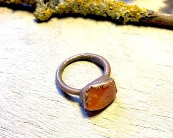 Carnelian Ring - Raw Copper Ring - Raw Crystal Ring - Gemstone Ring Size 8.5 - Electroformed Ring - Orange ring - Healing Crystal Jewelry