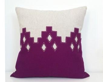 "Moroccan Diamond Pillow in Plum Berry Felt + Oatmeal Linen, 16"" square"