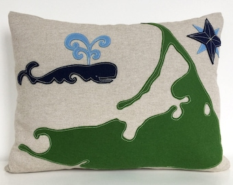 Nantucket Map & Spouting Whale Pillow With Green and Blue Felt Applique on Oatmeal Linen