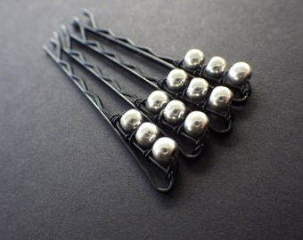 Simple Silver- Set of 4- Wire Wrapped Beaded Bobby Pins- Spring- Hair Style Fashion Accessory- Unique Gift Idea for Teen Girls and Women
