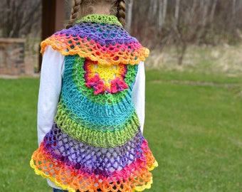 Crochet Pattern: Girls Butterfly Mandala Circle Vest, Permission to Sell Finished Items