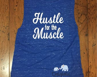 Womens hustle for the muscle muscle tank shirt in blue marbled workout tank