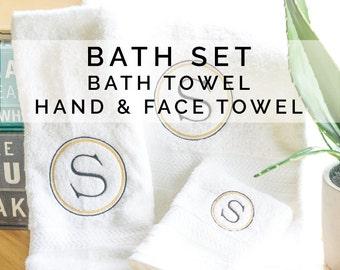 Monogrammed Bath Set, Bath Gift Set, Bathroom Decor, Bath Gifts, Bathroom Towels, Set of 3, Wedding Gift, Personalized Towel Set, Monogram