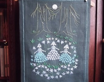 Wall art. Lovely Handmade Vintage Swedish Wall Hanging.Hand Embroidered Painting with Witches in the Forest. Hand Embroidery