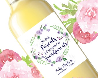Pregnancy Announcement Wine Labels The Best Parents Get Promoted to Grandparents Sisters Aunties Friends Aunts Brothers Uncles Purple Floral