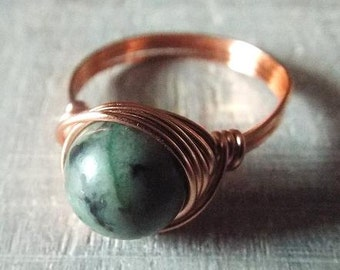 Copper Ring, African Turquoise Ring, Jasper Ring, Wire Wrapped Ring, Copper Jasper Ring, Copper Turquoise Ring, Kwanzaa Gift, African