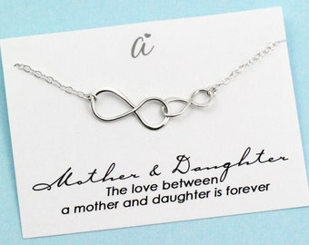 Mother's Day Gift . Infinity Necklace . Mother & Daughter . Mommy Jewelry . Sterling Silver