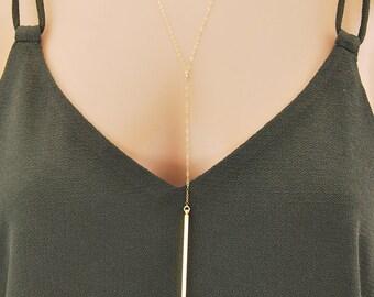 Drop Bar Necklace, Bar Lariat necklace, Long necklace, Layered necklace, Silver Y necklace, Rose Gold bar, Gold bar necklace