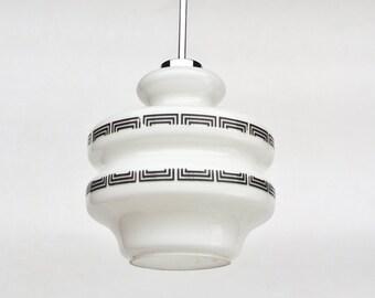 Vintage Glass Pendant Lamp / Ceiling Light  / White / 60s Yugoslavia