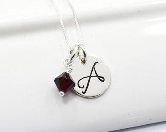 Personalized Hand-Stamped Initial Necklace | Sterling Silver Monogram Necklace