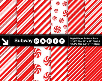 Christmas Candy Cane Stripes and Peppermints Digital Papers in Red and White. Scrapbook / Party Papers 8.5x11 & 12x12 jpg INSTANT DOWNLOAD