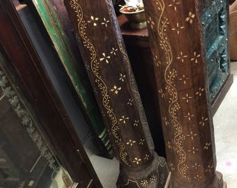 Antique Havelli Pillars Column Pair Bone Inlay Rustic Carved Teak Wood Furniture Indian Architecture Reclaimed Artifacts 18c
