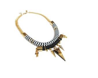 ONDRA - statement choker necklace, ethnic chic necklace, rope necklace, graphic necklace, geometric necklace, edgy necklace, urban necklace