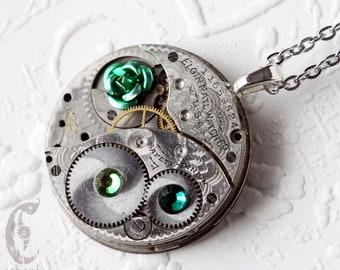 Steampunk Statement Necklace - Green Rose Elgin Guilloche Etch Antique Pocket Watch Movement with Green Emerald Swarovski Crystals  Gift