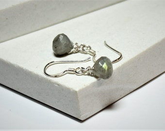 Labradorite Bulb Drop Earrings on Sterling Silver Earwires  - Birthday Gift - Bridesmaid's Gift