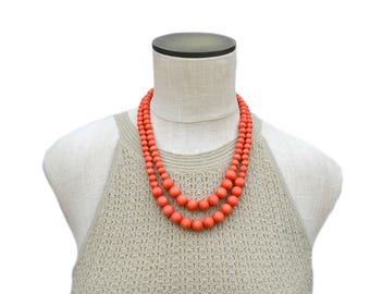 orange bead necklace / orange statement necklace / orange summer necklace / orange wood bead necklace / orange necklace / modern necklace