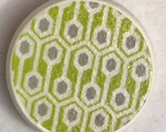 Drawer pull with lime green pattern