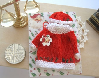 dollhouse christmas coat and hat knitted 12th scale miniature